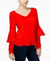 Kensie Split-Back Layered-Sleeve Top
