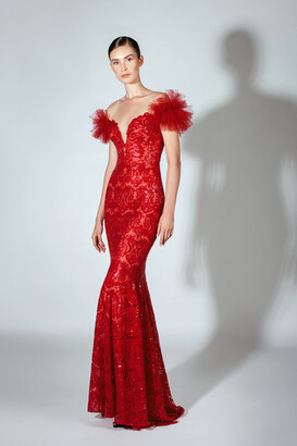 Beside Couture by GEMY Off Shoulder Embroidered Sequins Illusion Gown