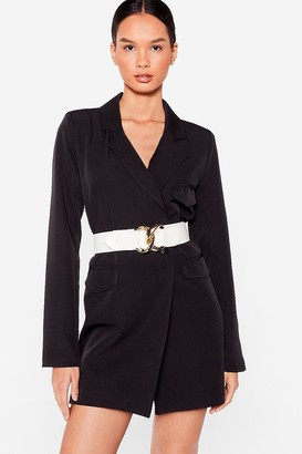 Nasty Gal Womens On the Lock Out Faux Leather Croc Belt - Black - ONE SIZE, Black