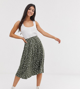 Asos DESIGN Petite midi skirt with box pleat in spot print-Multi