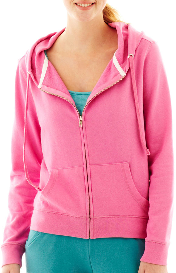 JCPenney Love By Design Rubber Doll Performance Zip-Front Hoodie