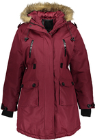 Fahrenheit Wine Faux Fur Hooded Parka
