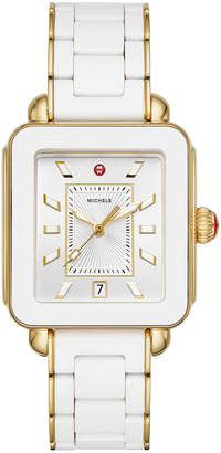 Michele Deco Sport Bracelet Watch, Gold/White
