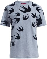 McQ by Alexander McQueen T-shirt Melange Light Grey With Black Maxi Swallows