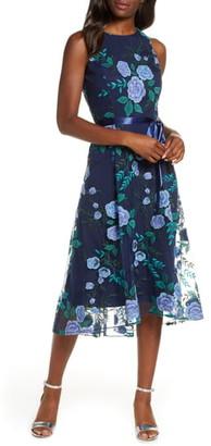 Tahari Floral Embroidered Mesh Midi Dress