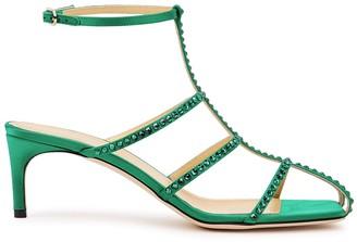 Giannico Kaya 65 green crystal-embellished satin sandals