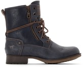 Mustang Faux Leather Lace-Up Ankle Boots