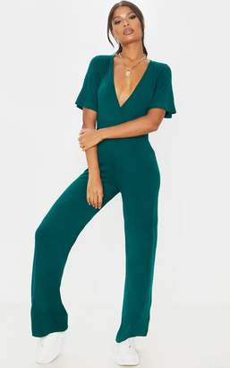 PrettyLittleThing Emerald Green Wrap Front Short Sleeve Jumpsuit