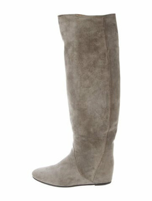 Lanvin Suede Riding Boots Grey