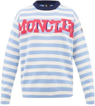 Moncler Logo-jacquard Striped Wool-blend Sweater - Womens - Blue Stripe
