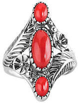 American West Sterling Red Coral Floral Elongat