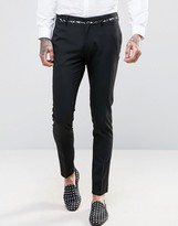 Asos Super Skinny Suit Pants with Black And Gold Tipping