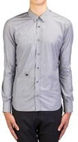 Christian Dior Men's Fly Embroidered Cotton Dress Shirt Pinstriped Grey.