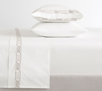 Pottery Barn Rope Embroidered Organic Percale Sheet Set