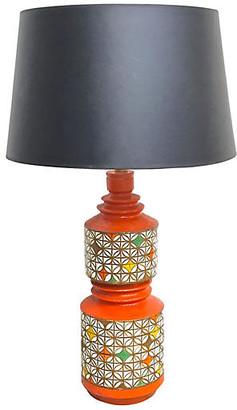 One Kings Lane Vintage Midcentury Geometric Aldo Londi Lamp - Vermilion Designs - orange/green/white/brown/yellow/brass/black
