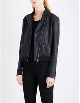 The Kooples Sport Eagle-embroidered Faux-leather Jacket