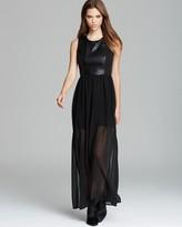Aqua Maxi Dress - Faux Leather Cage Back