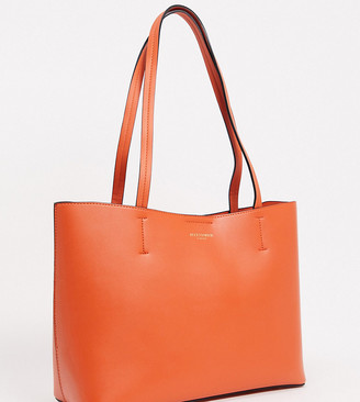 Accessorize structured tote bag in orange