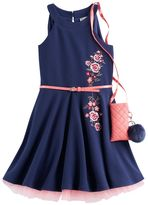 Knitworks Girls 7-16 Knit Works Embroidered Textured Skater Dress with Crossbody Purse