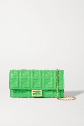 Fendi Embossed Neon Leather Shoulder Bag - Green