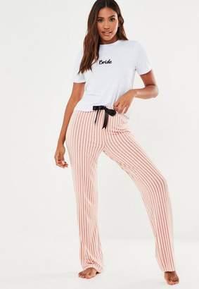 Missguided Bride White Striped Bottoms Pyjama Set