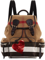 Burberry Medium Sequined-Heart Check Canvas Backpack, Red