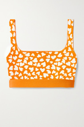 NAGNATA Twin Flame Technical-knit Stretch-organic Cotton Sports Bra - Orange
