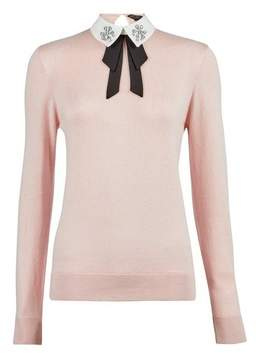 Dorothy Perkins Womens Blush Embellished Collar Cotton Mix Jumper