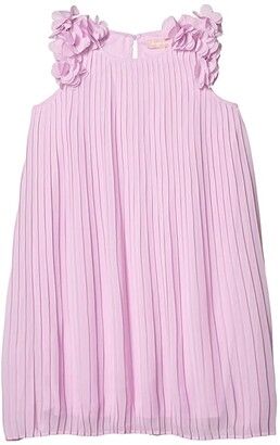 BCBG Girls Pleated Chiffon w/ Applique Trapez Dress (Big Kids) (Orchid) Girl's Clothing