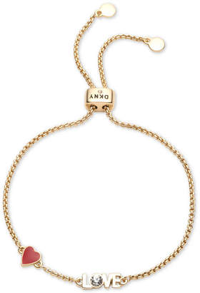 Dkny Gold-Tone Crystal Love Slider Bracelet