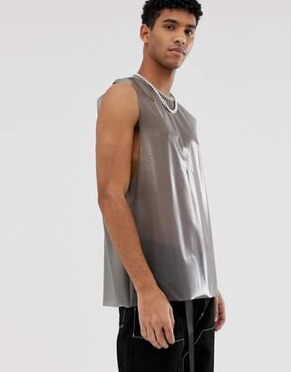 Asos Design DESIGN Festival relaxed sleeveless t-shirt with dropped armhole in transparent fabric in black