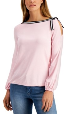 Charter Club Cold-Shoulder Cotton Top, Created for Macy's