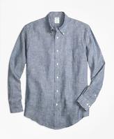 Brooks Brothers Regent Fit Dot Irish Linen Sport Shirt