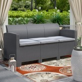 Andover Mills Yoselin Patio Sofa with Cushions Frame Color: Charcoal