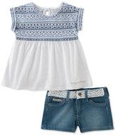Calvin Klein 2-Pc. Printed Top & Denim Shorts Set, Baby Girls (0-24 months)