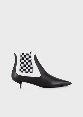 Emporio Armani Leather, Pointed-Toe, Kitten-Heeled Ankle Boots
