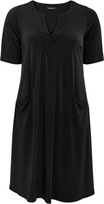 Evans Black V-Neck Pocket Dress