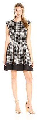 Gabby Skye Women's Houndstooth Fit and Flare Dress