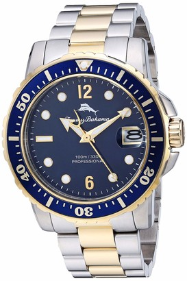 Tommy Bahama Men's Japanese Quartz Stainless Steel Strap Metallic 21.4 Casual Watch (Model: 215161GST711)