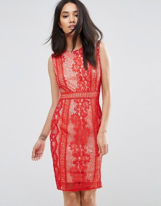 AX Paris Red Lace Bodycon Dress