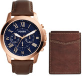 Fossil Men's Chronograph Grant Brown Leather Strap Watch and Wallet Box Set 44mm FS5188SET