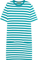 Michael Kors Striped Cotton-jersey Mini Dress - Turquoise
