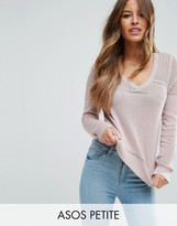 Asos Sweater In Pointelle Stitch With V Neck