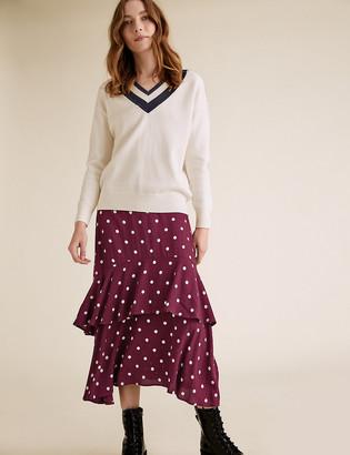 Marks and Spencer Polka Dot Ruffle Midi Tiered Skirt