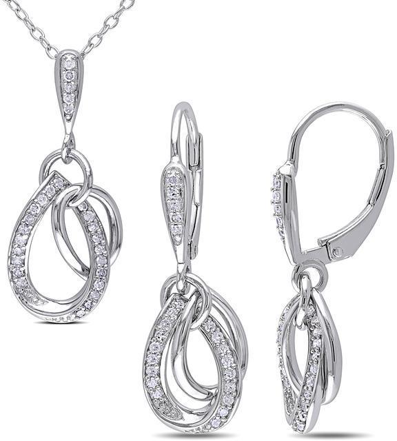 Julie Leah 2/5 CT TW Diamond Silver Twisted Teardrop Necklace and Dangle Earrings Set