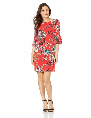 Jessica Howard Jessicahoward JessicaHoward Women's Petite 3/4 Bell Sleeve Shift Dress