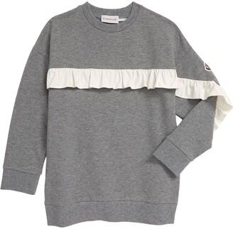 Moncler Kids' Ruffle Detail Heathered Sweatshirt