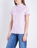 Sandro Frilled-trim cotton-poplin shirt