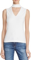 Aqua Sleeveless Rib Peek V-Neck Top