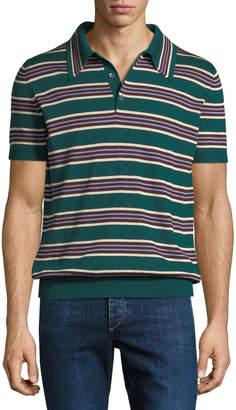 Prada Striped Silk-Blend Polo Sweater